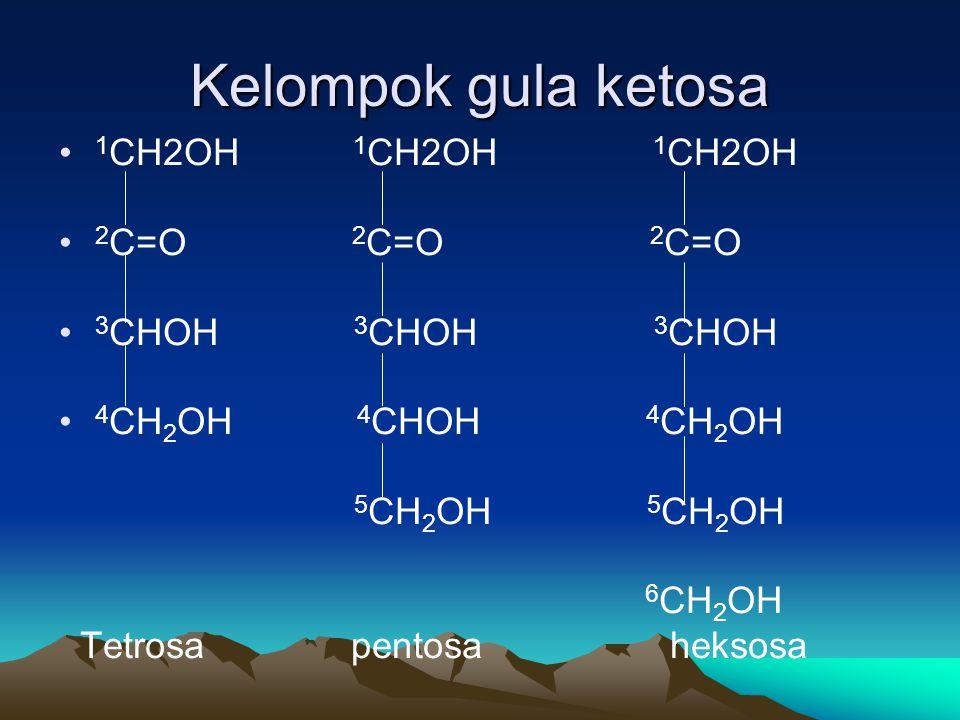 Kelompok gula ketosa 1CH2OH 1CH2OH 1CH2OH 2C=O 2C=O 2C=O