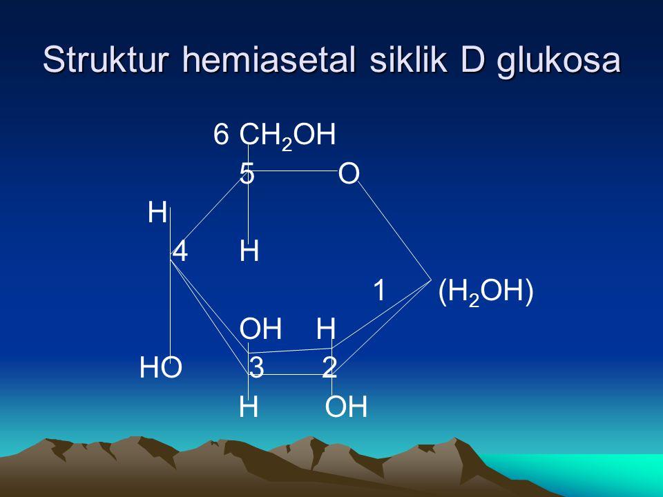 Struktur hemiasetal siklik D glukosa