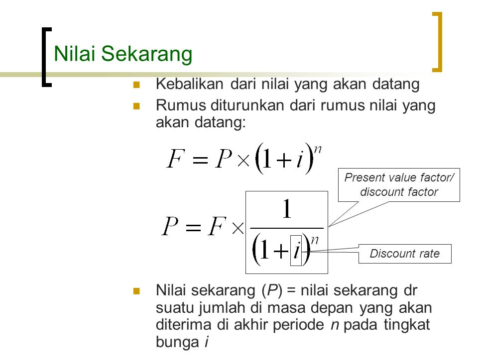 Present value factor/ discount factor