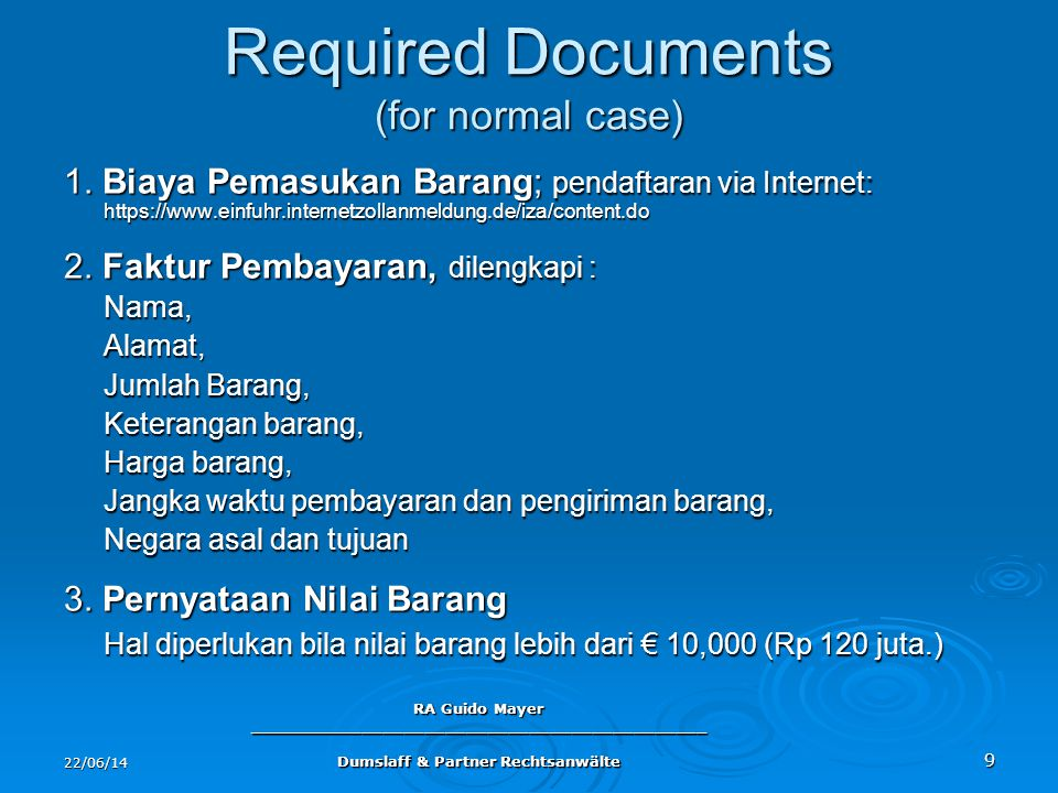 Required Documents (for normal case)