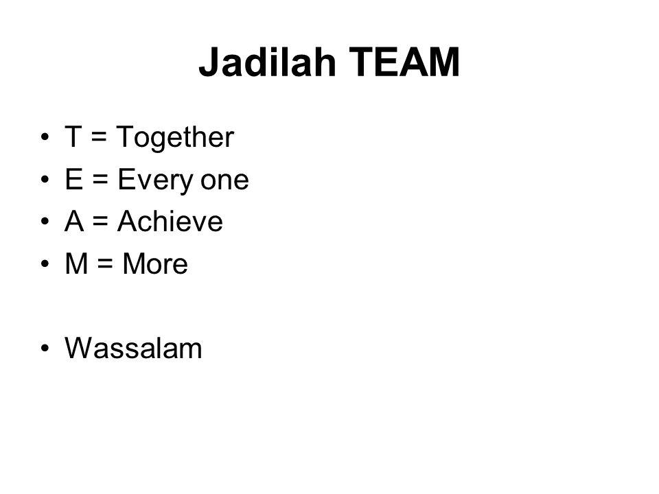 Jadilah TEAM T = Together E = Every one A = Achieve M = More Wassalam