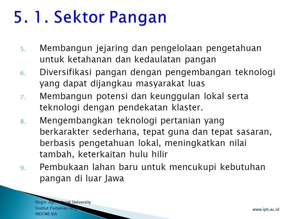 5. 1. Sektor Pangan Membangun jejaring dan pengelolaan pengetahuan untuk ketahanan dan kedaulatan pangan.