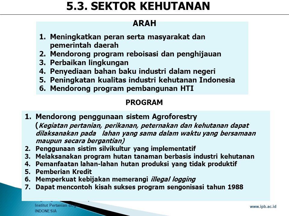 5.3. SEKTOR KEHUTANAN ARAH. Meningkatkan peran serta masyarakat dan pemerintah daerah. Mendorong program reboisasi dan penghijauan.