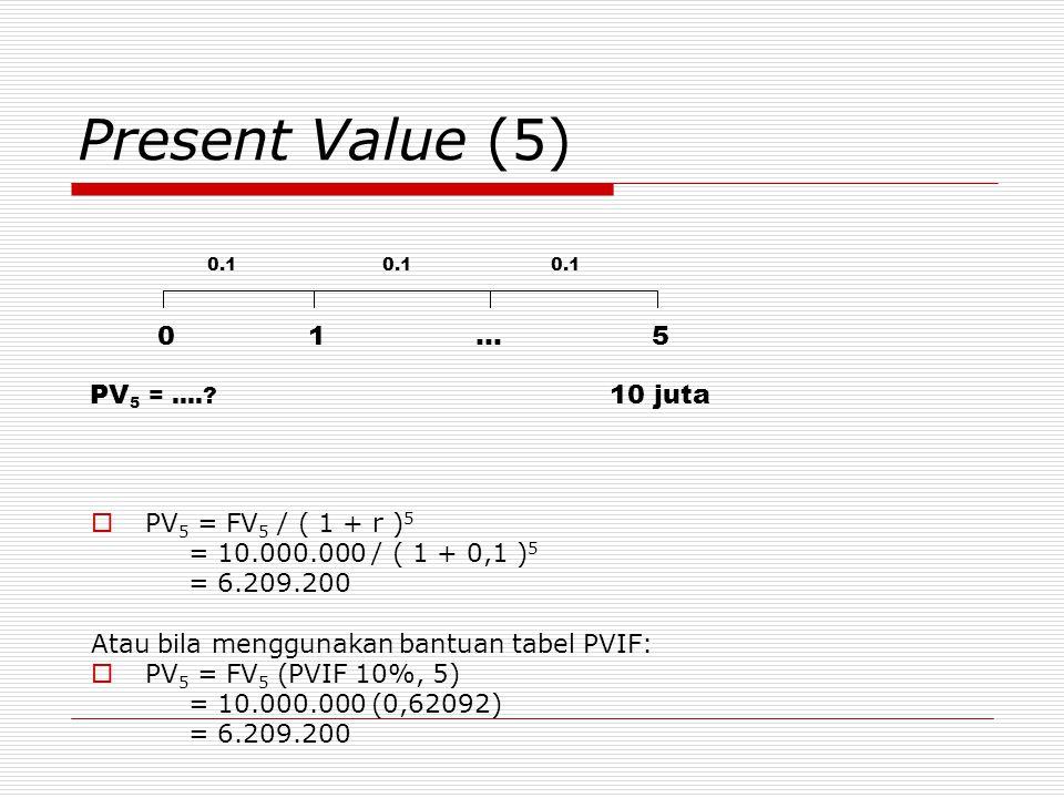 Present Value (5) 1 … 5 PV5 = …. 10 juta PV5 = FV5 / ( 1 + r )5