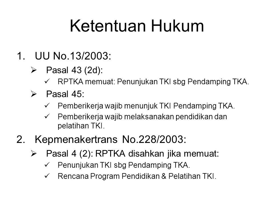 Ketentuan Hukum UU No.13/2003: Kepmenakertrans No.228/2003: