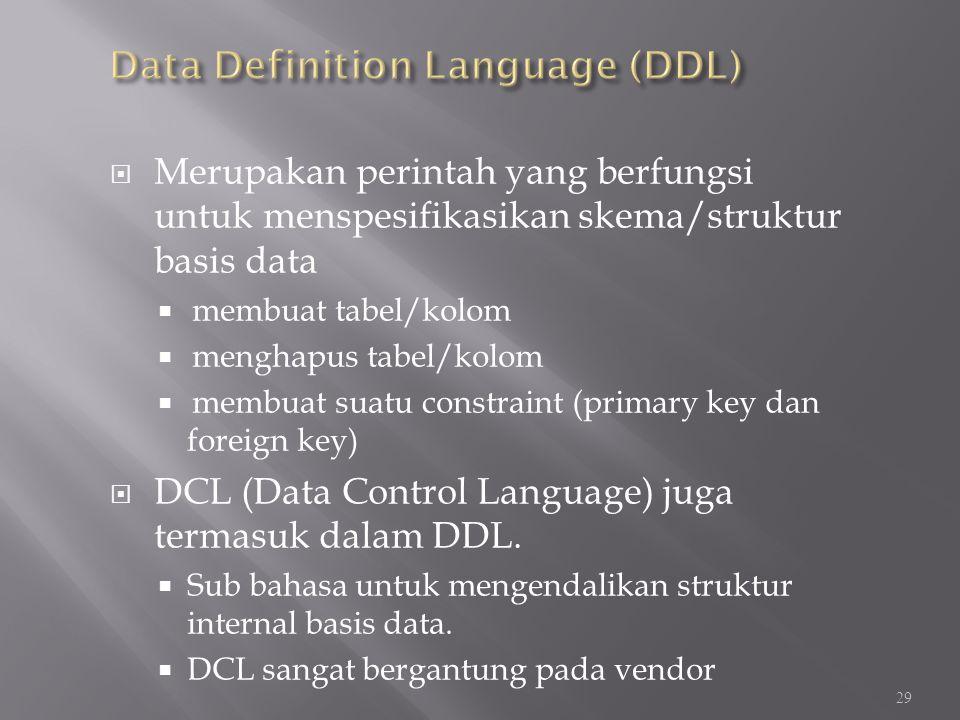 Data Definition Language (DDL)