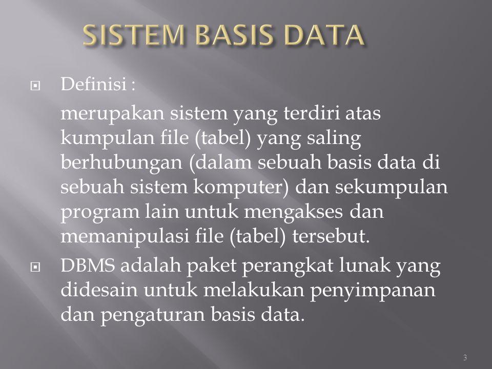 SISTEM BASIS DATA Definisi :