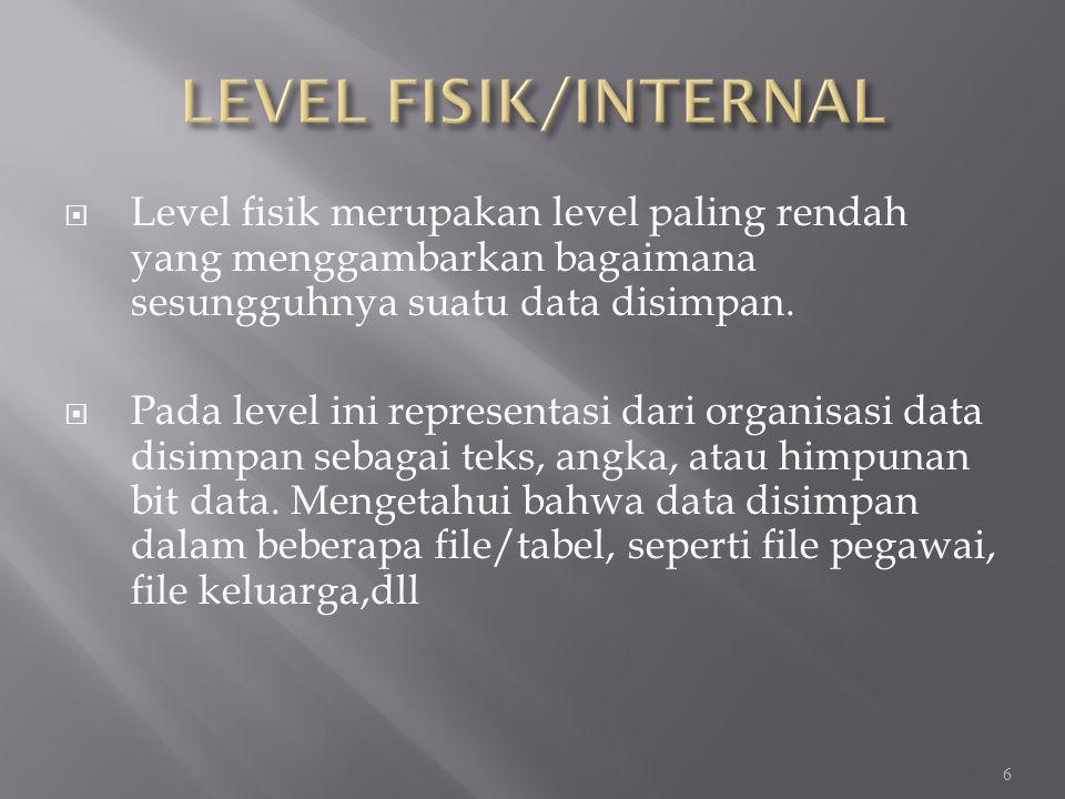 LEVEL FISIK/INTERNAL Level fisik merupakan level paling rendah yang menggambarkan bagaimana sesungguhnya suatu data disimpan.