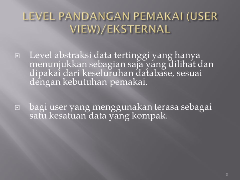 LEVEL PANDANGAN PEMAKAI (USER VIEW)/EKSTERNAL