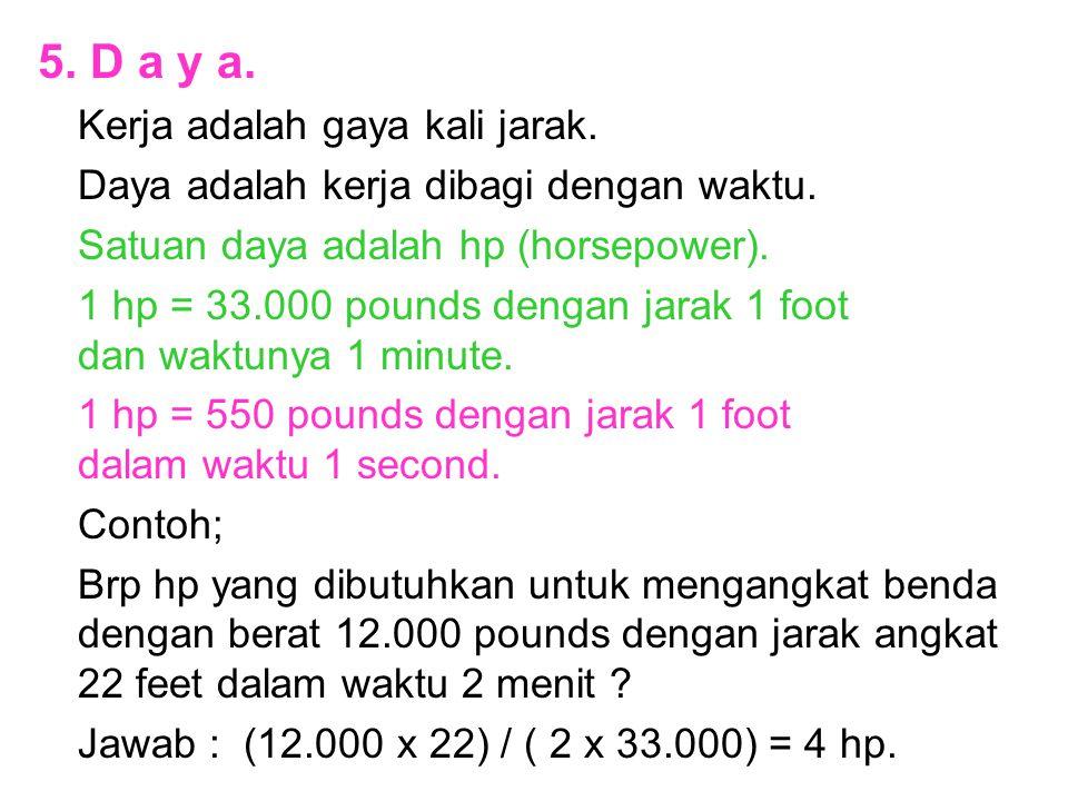 5. D a y a. Kerja adalah gaya kali jarak.