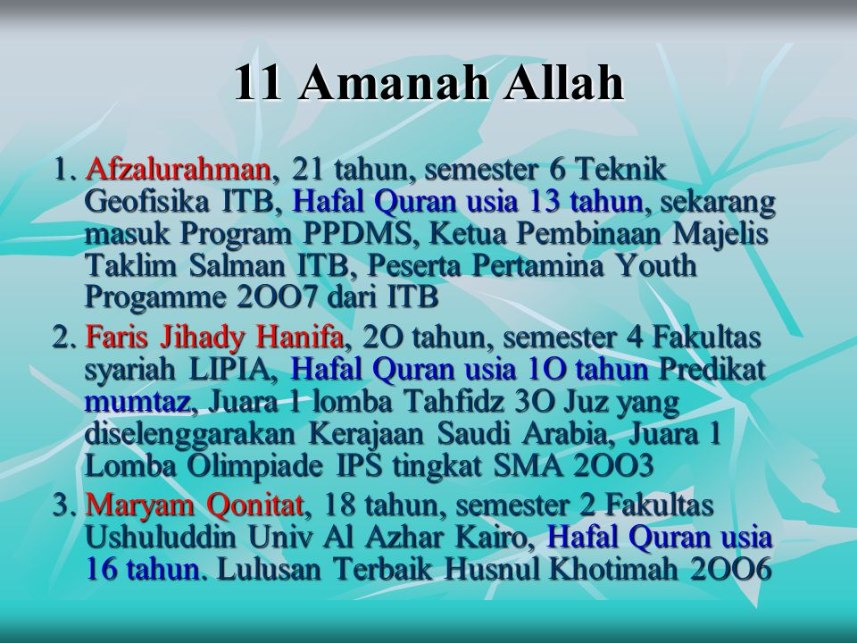 11 Amanah Allah