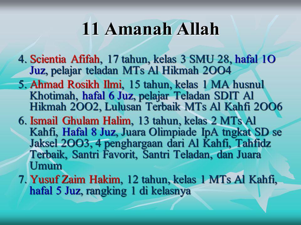 11 Amanah Allah 4. Scientia Afifah, 17 tahun, kelas 3 SMU 28, hafal 1O Juz, pelajar teladan MTs Al Hikmah 2OO4.