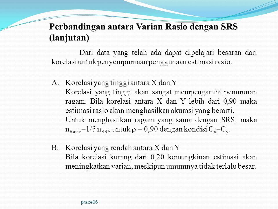 Perbandingan antara Varian Rasio dengan SRS (lanjutan)