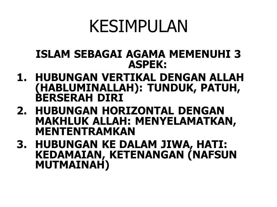 ISLAM SEBAGAI AGAMA MEMENUHI 3 ASPEK: