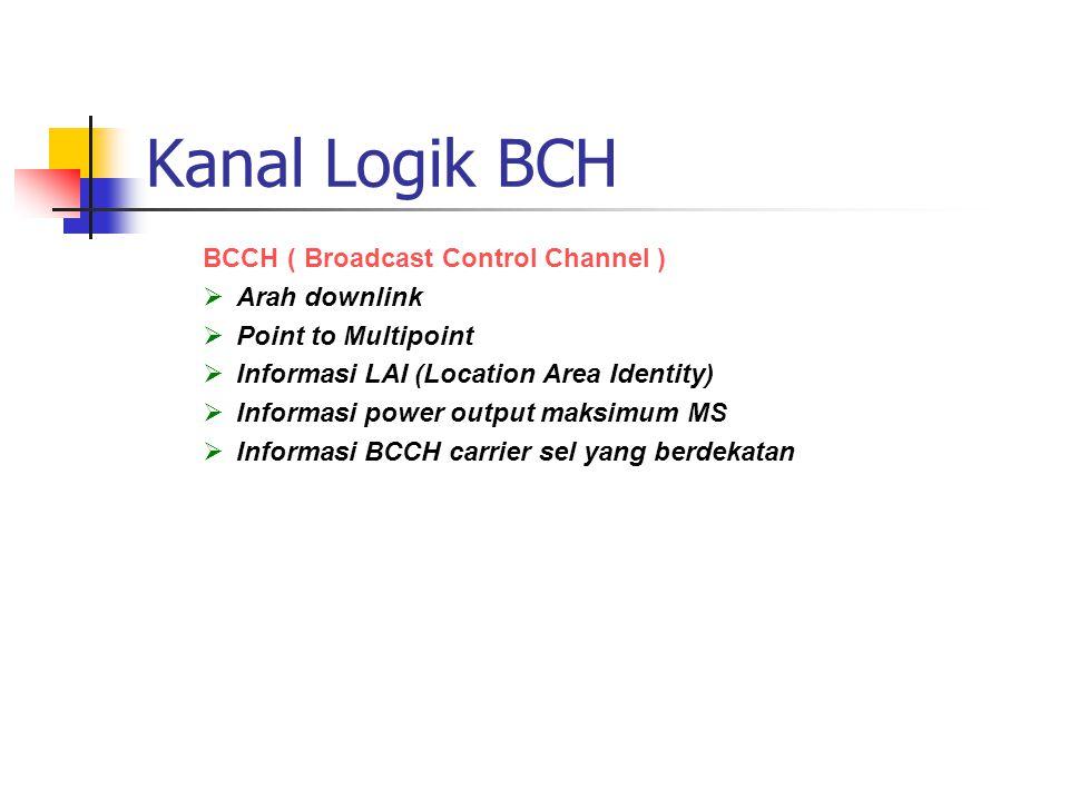 Kanal Logik BCH BCCH ( Broadcast Control Channel ) Arah downlink