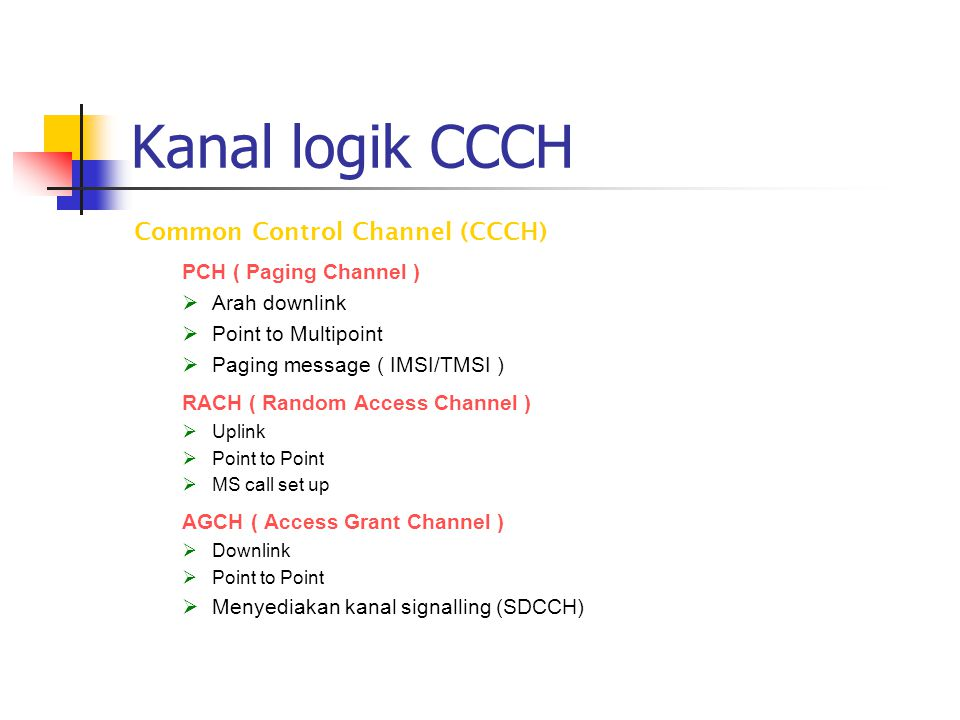 Kanal logik CCCH Common Control Channel (CCCH) PCH ( Paging Channel )
