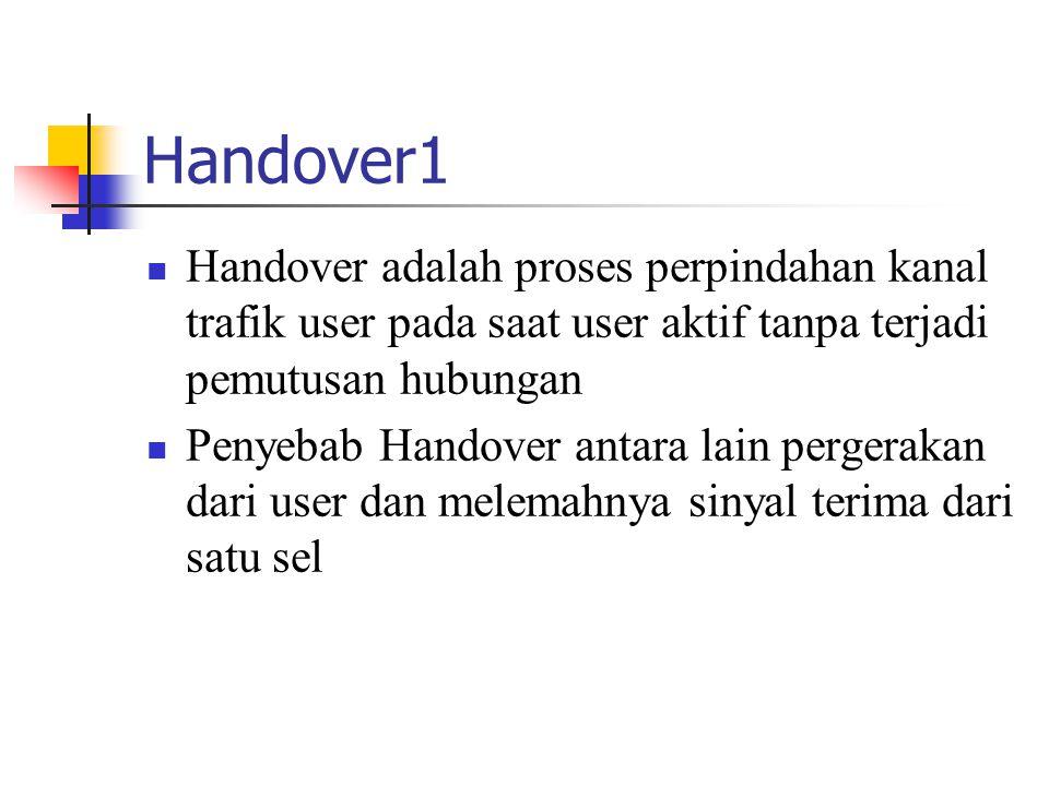 Handover1 Handover adalah proses perpindahan kanal trafik user pada saat user aktif tanpa terjadi pemutusan hubungan.