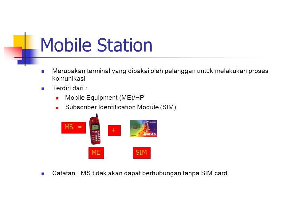 Mobile Station Merupakan terminal yang dipakai oleh pelanggan untuk melakukan proses komunikasi. Terdiri dari :