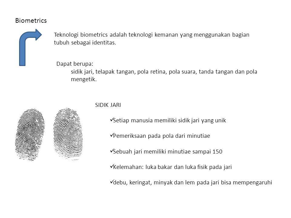 Biometrics Teknologi biometrics adalah teknologi kemanan yang menggunakan bagian tubuh sebagai identitas.