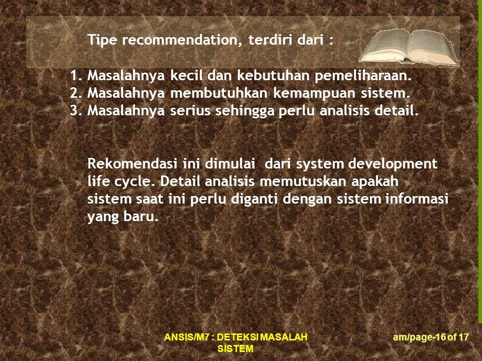 Tipe recommendation, terdiri dari :