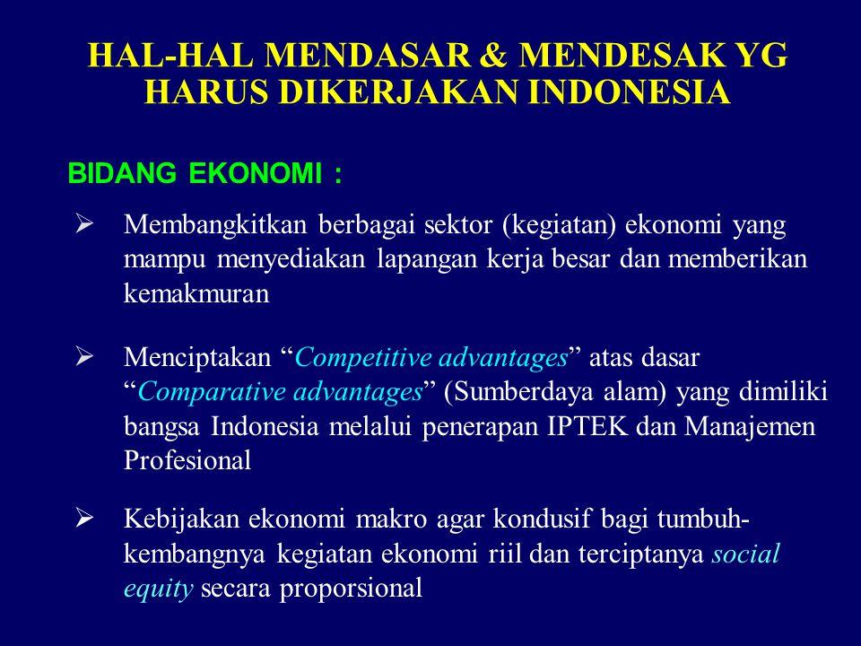 HAL-HAL MENDASAR & MENDESAK YG HARUS DIKERJAKAN INDONESIA