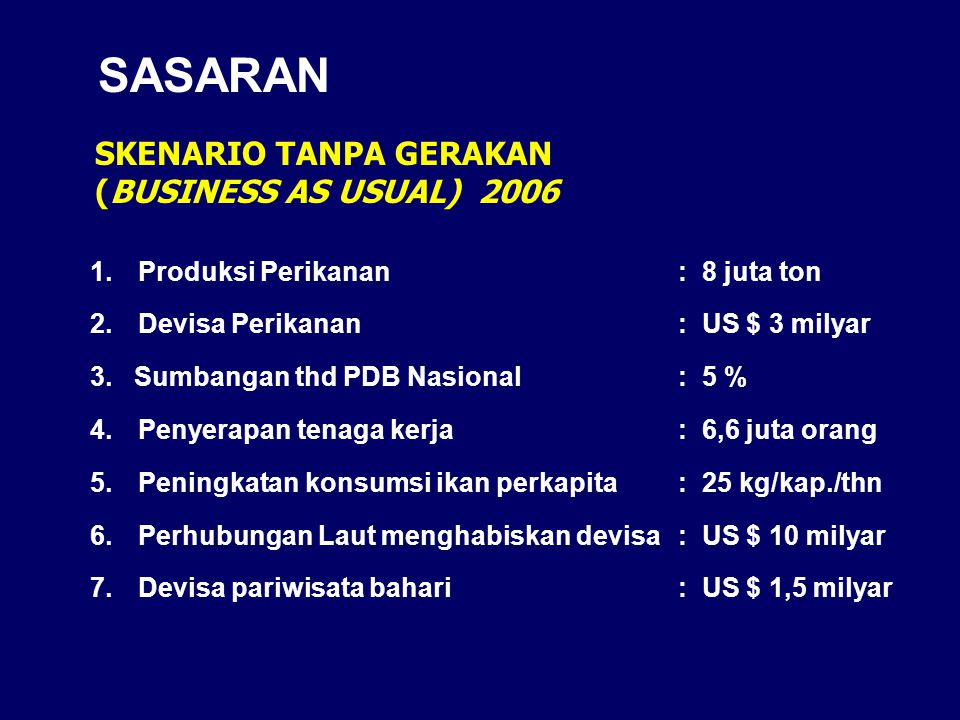 SASARAN SKENARIO TANPA GERAKAN (BUSINESS AS USUAL) 2006