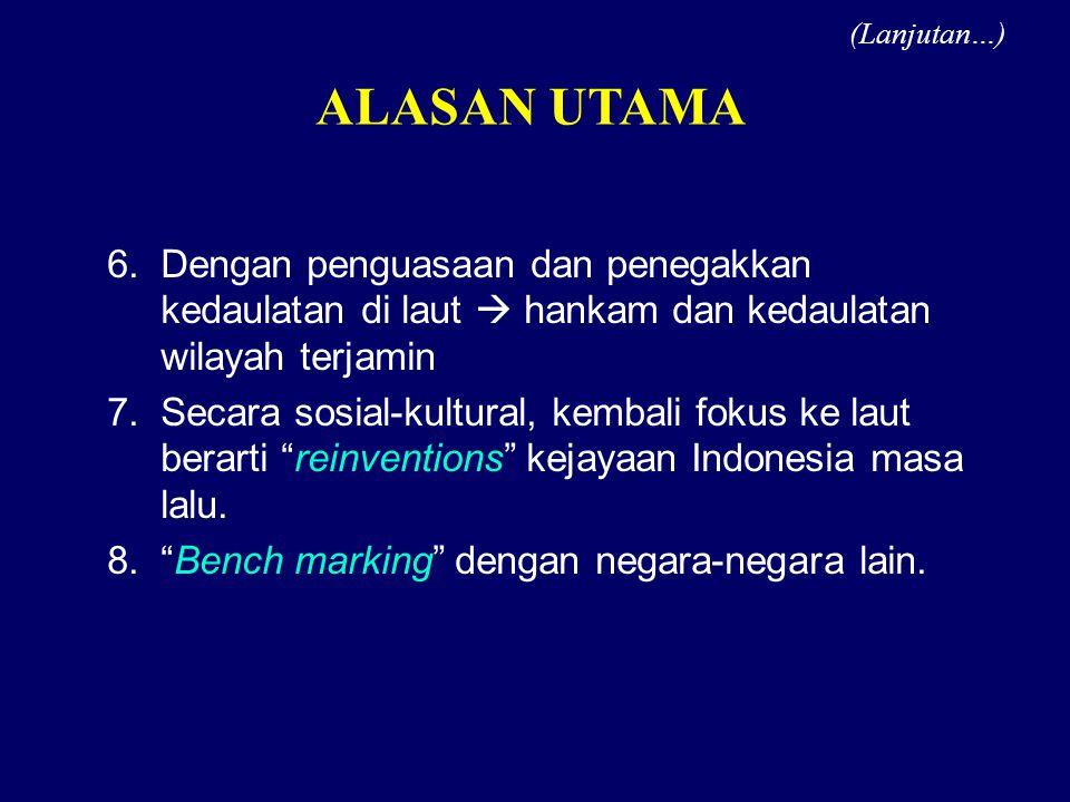 (Lanjutan…) ALASAN UTAMA. Dengan penguasaan dan penegakkan kedaulatan di laut  hankam dan kedaulatan wilayah terjamin.