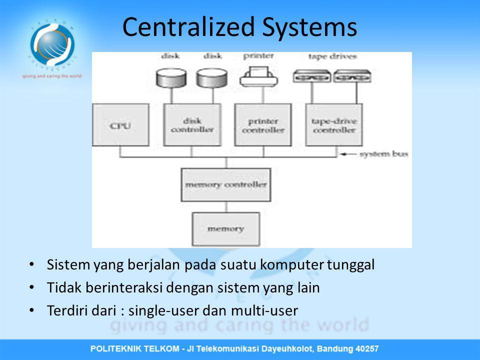 Centralized Systems Sistem yang berjalan pada suatu komputer tunggal