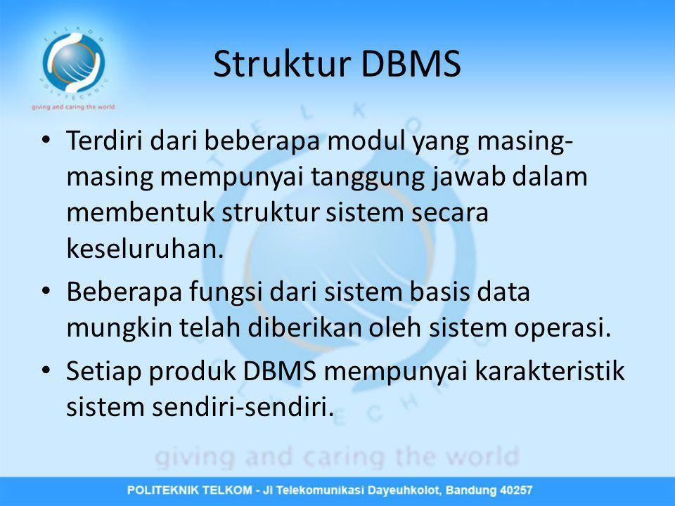 Struktur DBMS Terdiri dari beberapa modul yang masing-masing mempunyai tanggung jawab dalam membentuk struktur sistem secara keseluruhan.