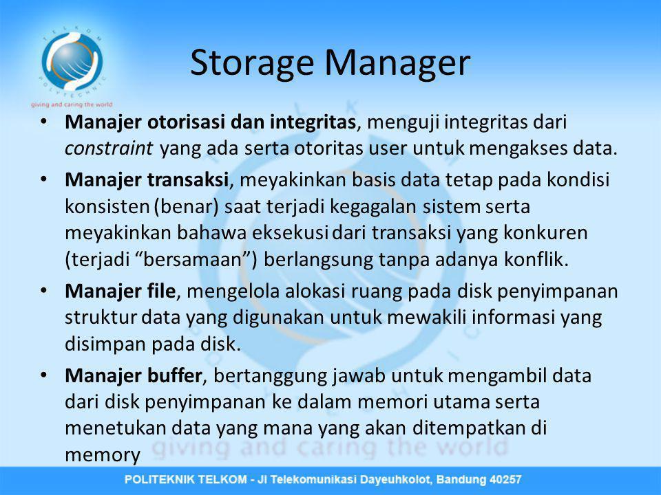 Storage Manager Manajer otorisasi dan integritas, menguji integritas dari constraint yang ada serta otoritas user untuk mengakses data.