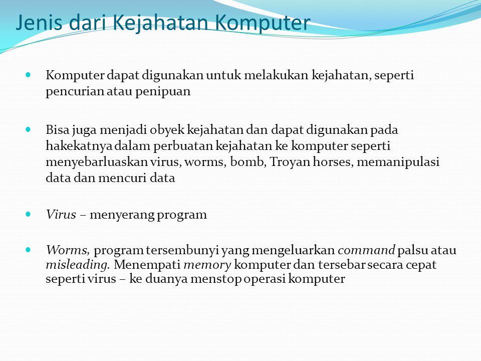 Jenis dari Kejahatan Komputer