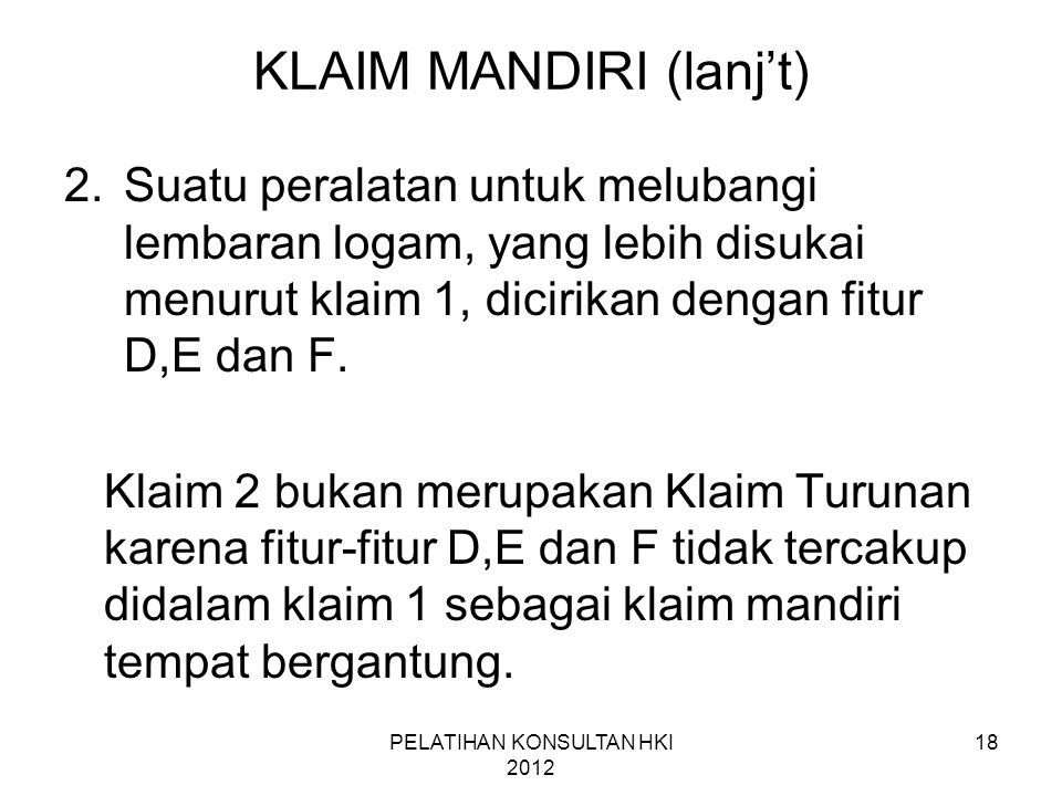 KLAIM MANDIRI (lanj't)