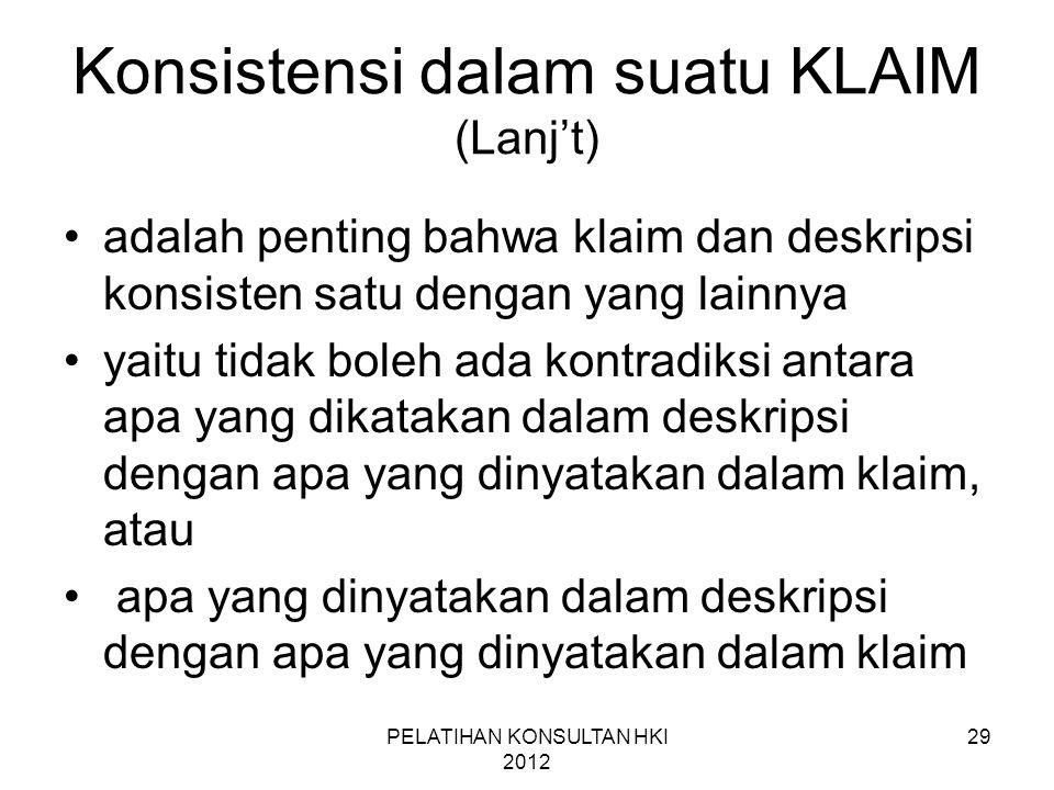 Konsistensi dalam suatu KLAIM (Lanj't)