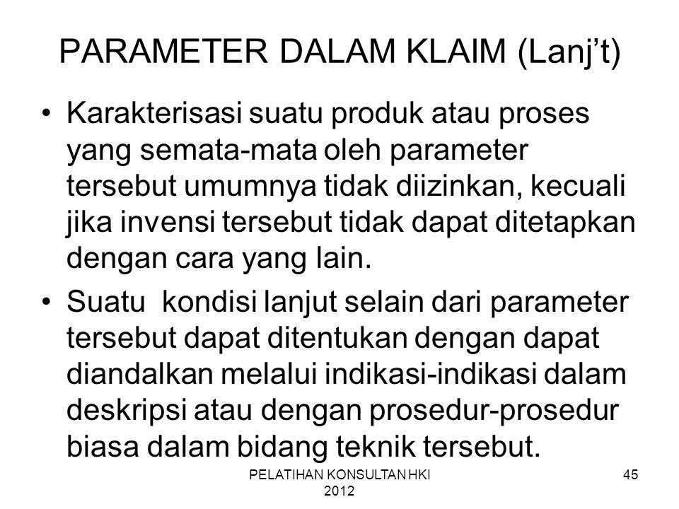 PARAMETER DALAM KLAIM (Lanj't)