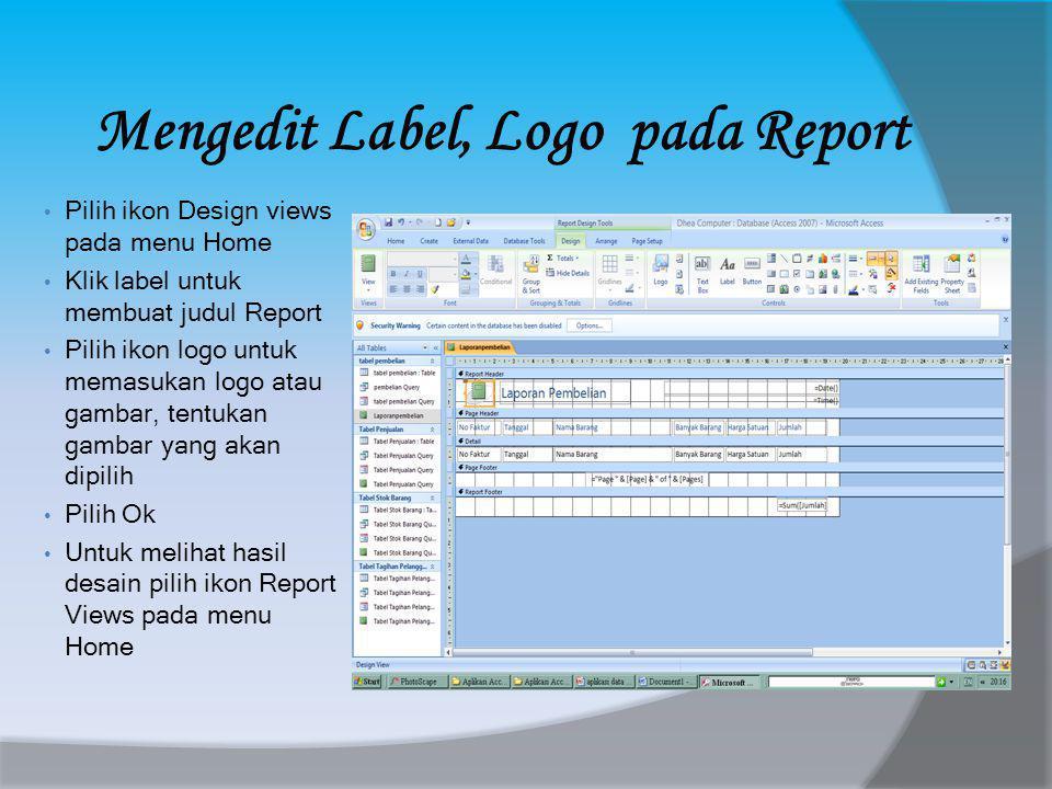 Mengedit Label, Logo pada Report
