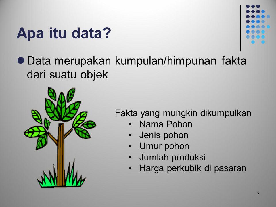 Apa itu data Data merupakan kumpulan/himpunan fakta dari suatu objek