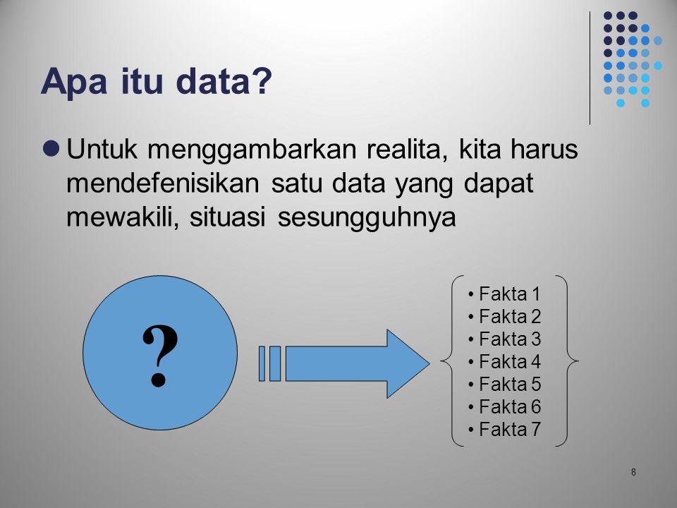 Apa itu data Untuk menggambarkan realita, kita harus mendefenisikan satu data yang dapat mewakili, situasi sesungguhnya.