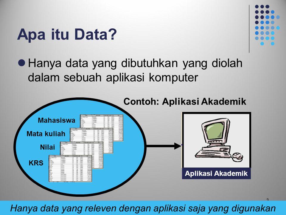 Hanya data yang releven dengan aplikasi saja yang digunakan