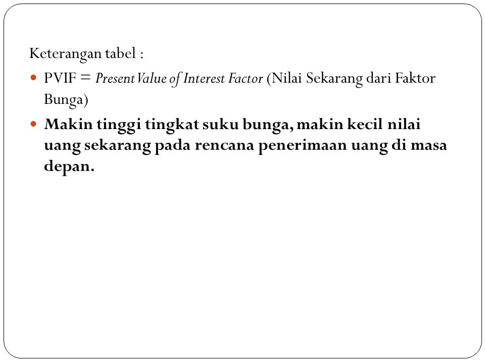 Keterangan tabel : PVIF = Present Value of Interest Factor (Nilai Sekarang dari Faktor Bunga)