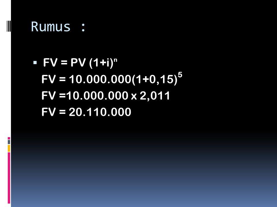Rumus : FV = PV (1+i)n FV = 10.000.000(1+0,15)5 FV =10.000.000 x 2,011