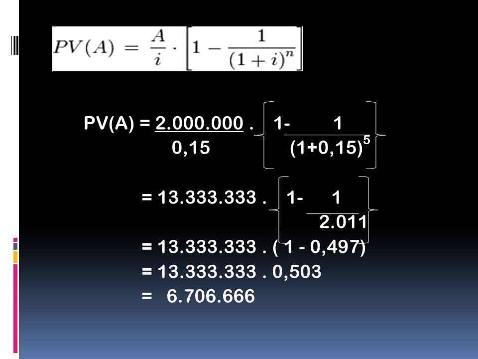 PV(A) = 2.000.000 . 1- 1 0,15 (1+0,15)5 = 13.333.333 .