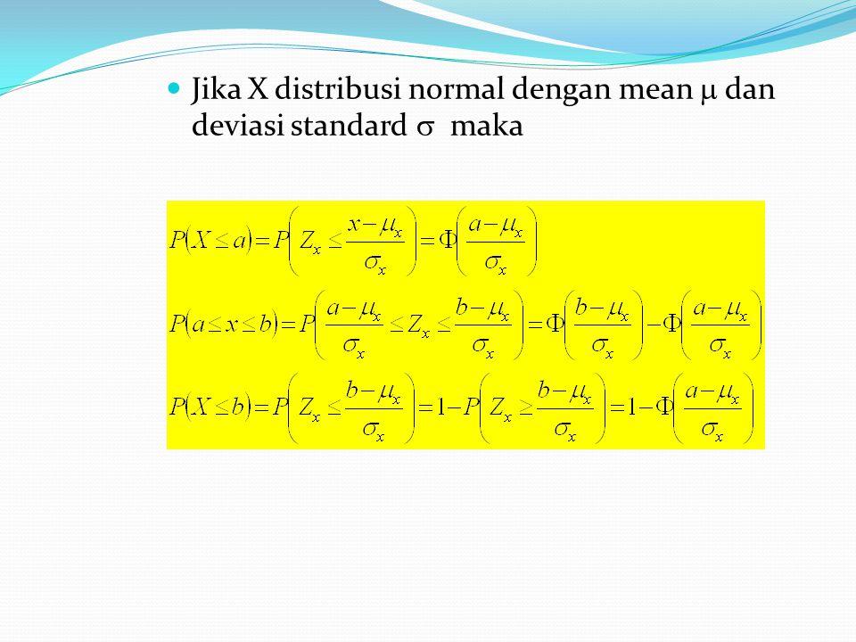 Jika X distribusi normal dengan mean  dan deviasi standard  maka