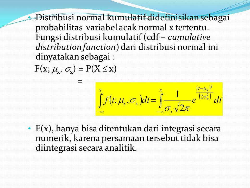 Distribusi normal kumulatif didefinisikan sebagai probabilitas variabel acak normal x tertentu. Fungsi distribusi kumulatif (cdf – cumulative distribution function) dari distribusi normal ini dinyatakan sebagai :