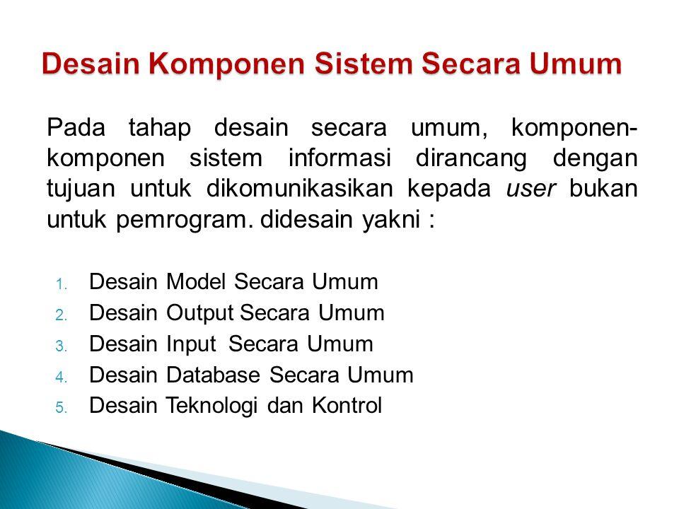 Desain Komponen Sistem Secara Umum