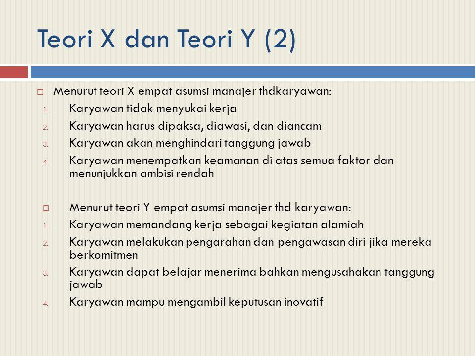 Teori X dan Teori Y (2) Menurut teori X empat asumsi manajer thdkaryawan: Karyawan tidak menyukai kerja.