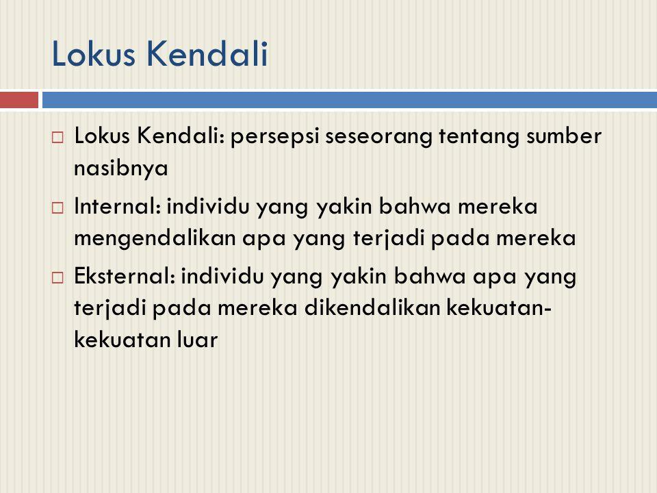 Lokus Kendali Lokus Kendali: persepsi seseorang tentang sumber nasibnya.