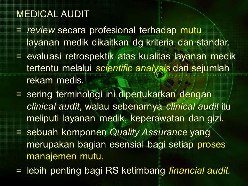 MEDICAL AUDIT = review secara profesional terhadap mutu. layanan medik dikaitkan dg kriteria dan standar.