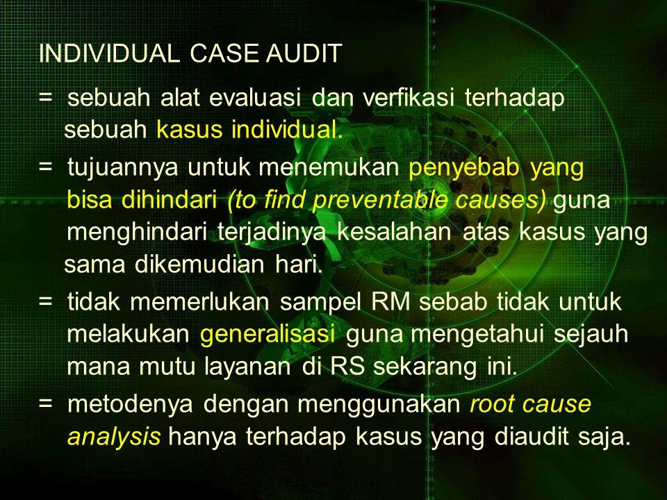 INDIVIDUAL CASE AUDIT = sebuah alat evaluasi dan verfikasi terhadap. sebuah kasus individual. = tujuannya untuk menemukan penyebab yang.