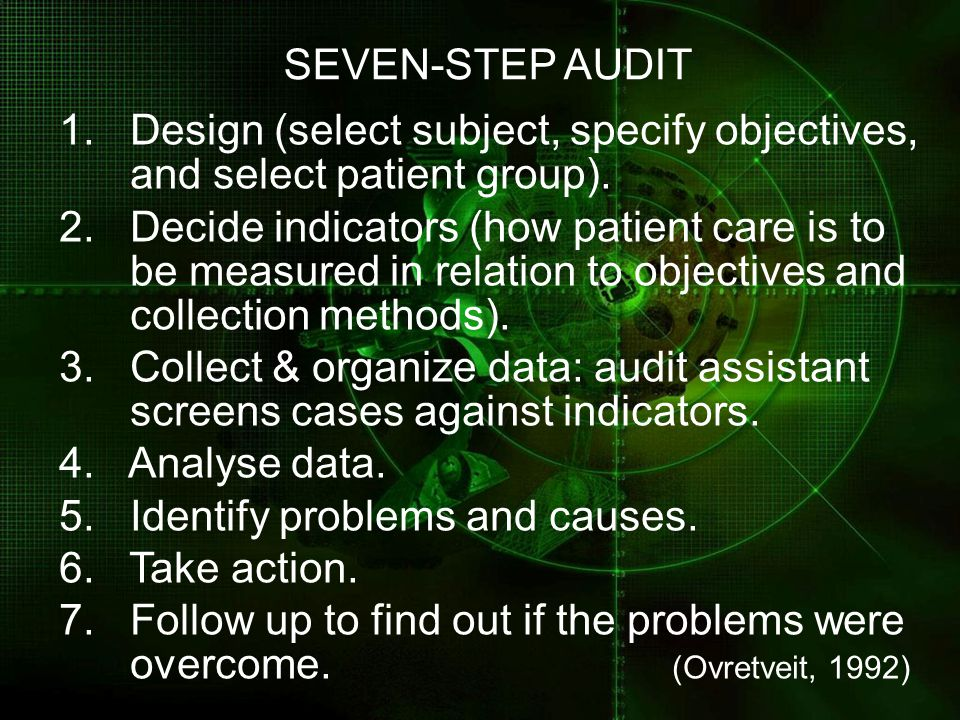 SEVEN-STEP AUDIT 1. Design (select subject, specify objectives,