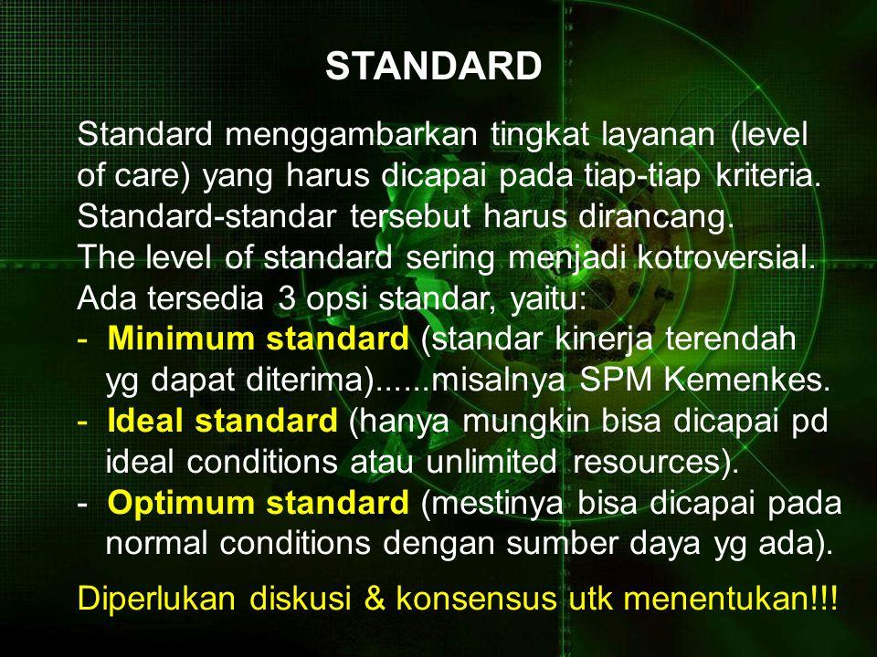STANDARD Standard menggambarkan tingkat layanan (level of care) yang harus dicapai pada tiap-tiap kriteria.